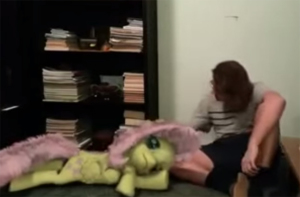 A Wonderful Treat: Brony Plays With CGI Pony Next To Xmas Tree